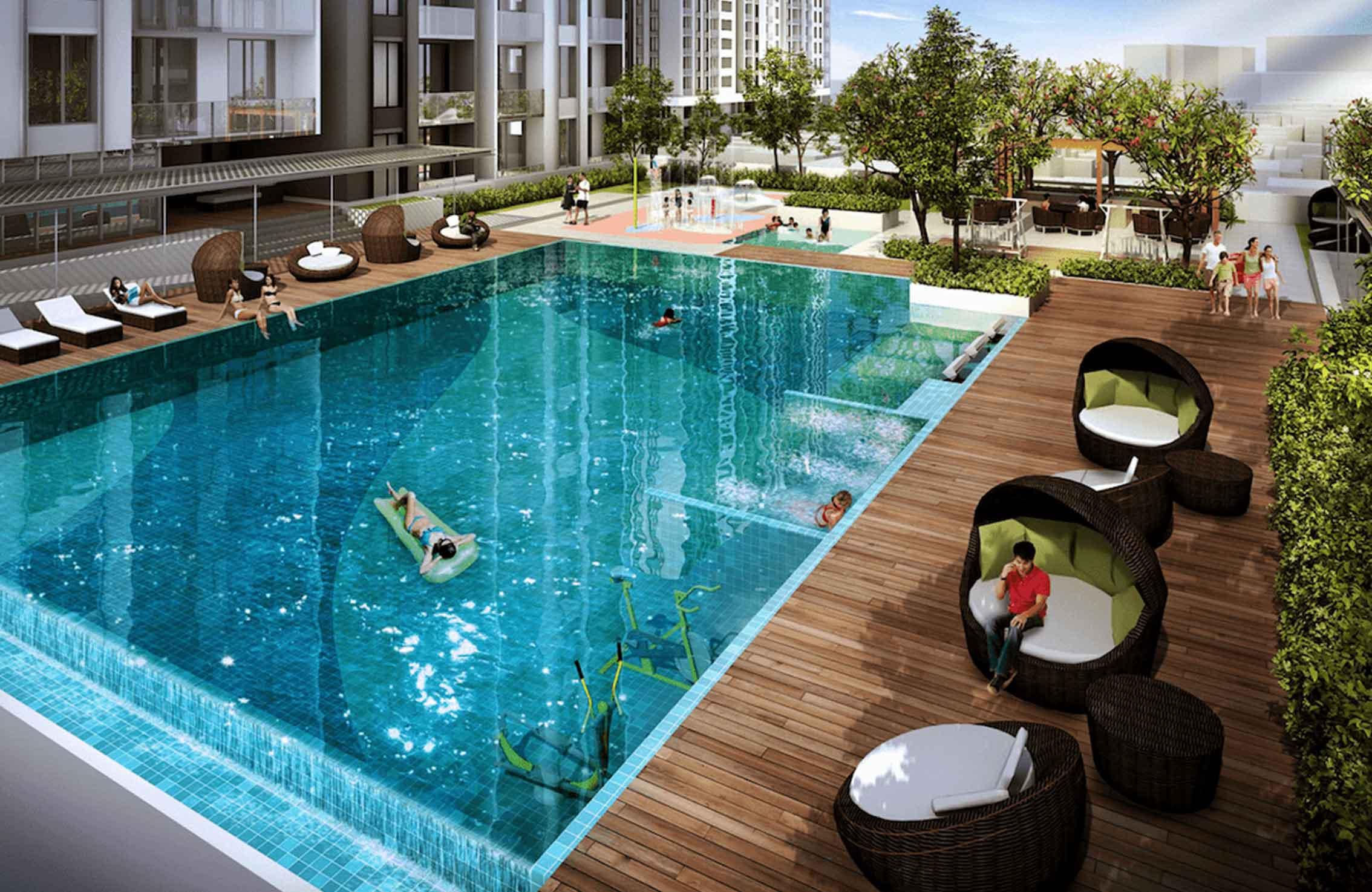 Tiến ích hồ bơi dự án căn hộ Hà Đô Centrosa Garden