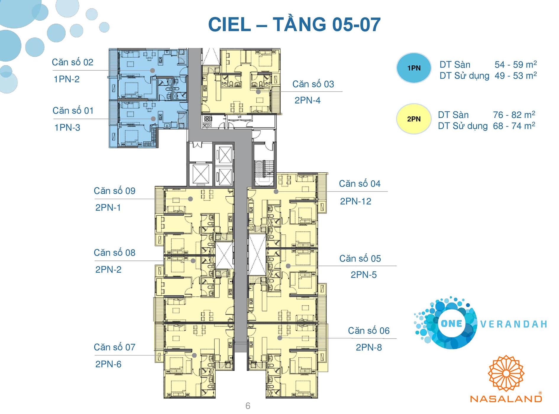 Mặt bằng tầng 05 - 07 căn hộ điển hình One Verandah (Ảnh: NSL)