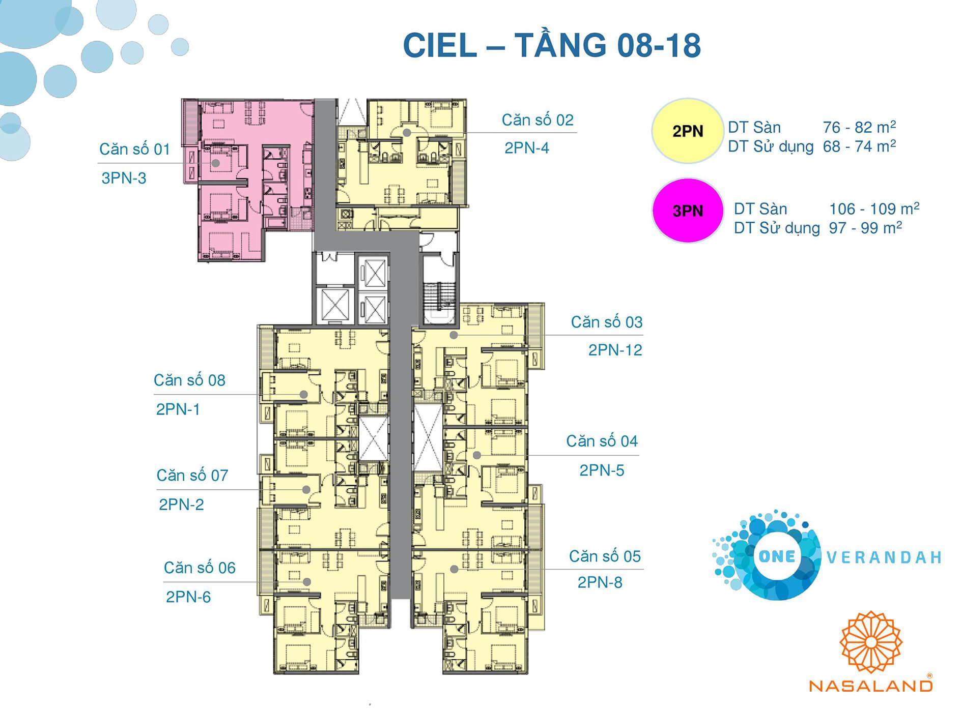 Mặt bằng tầng 08 - 18 căn hộ điển hình One Verandah (Ảnh: NSL)