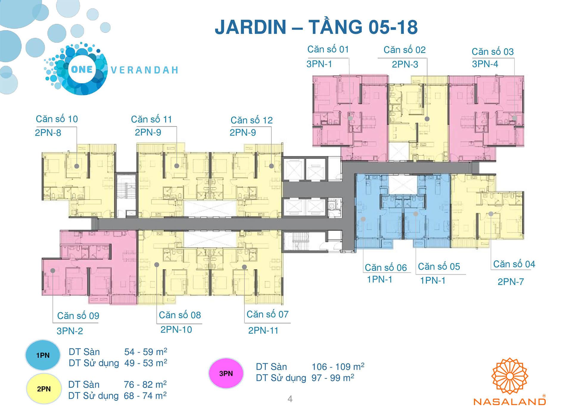 Mặt bằng tầng 05 - 18 căn hộ điển hình One Verandah (Ảnh: NSL)