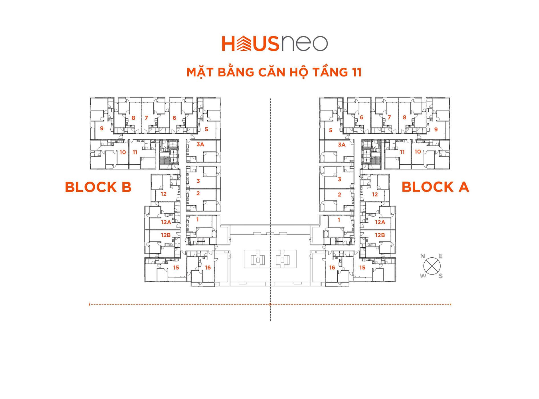 Mặt bằn căn hộ tầng 11 căn hộ Hausneo quận 9