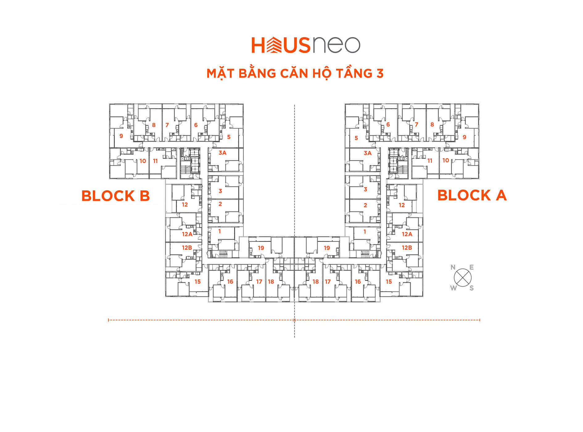 Mặt bằng căn hộ tầng 3 dự án Hausneo