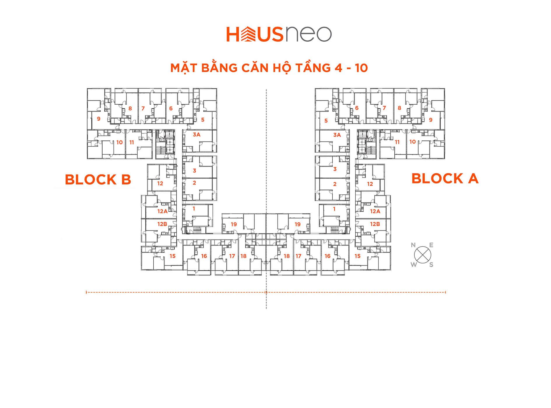 Mặt bằng căn hộ tầng 4 -10 - dự án Hausneo quận-9