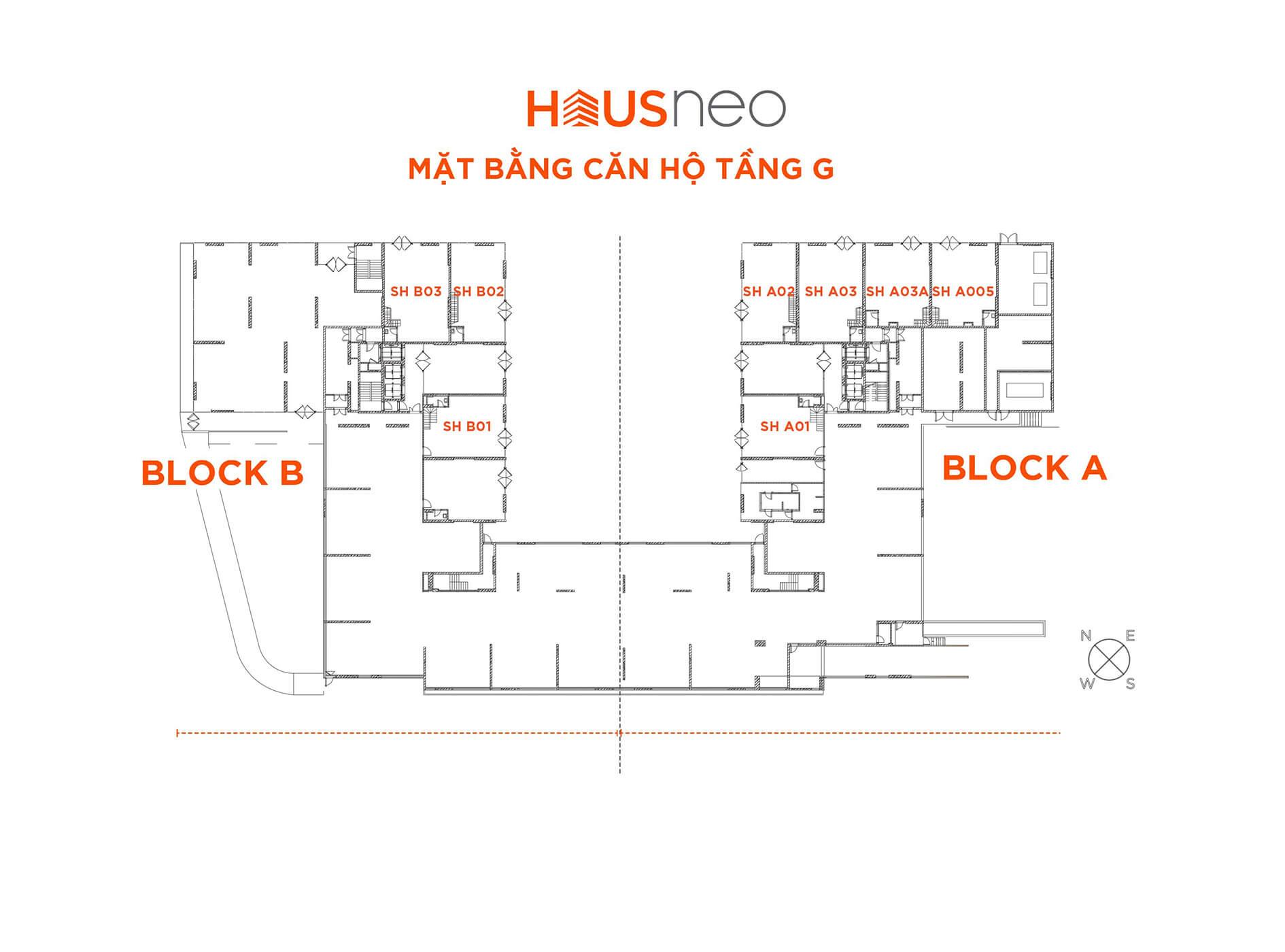 Mặt bằng tầng G căn hộ Hausneo