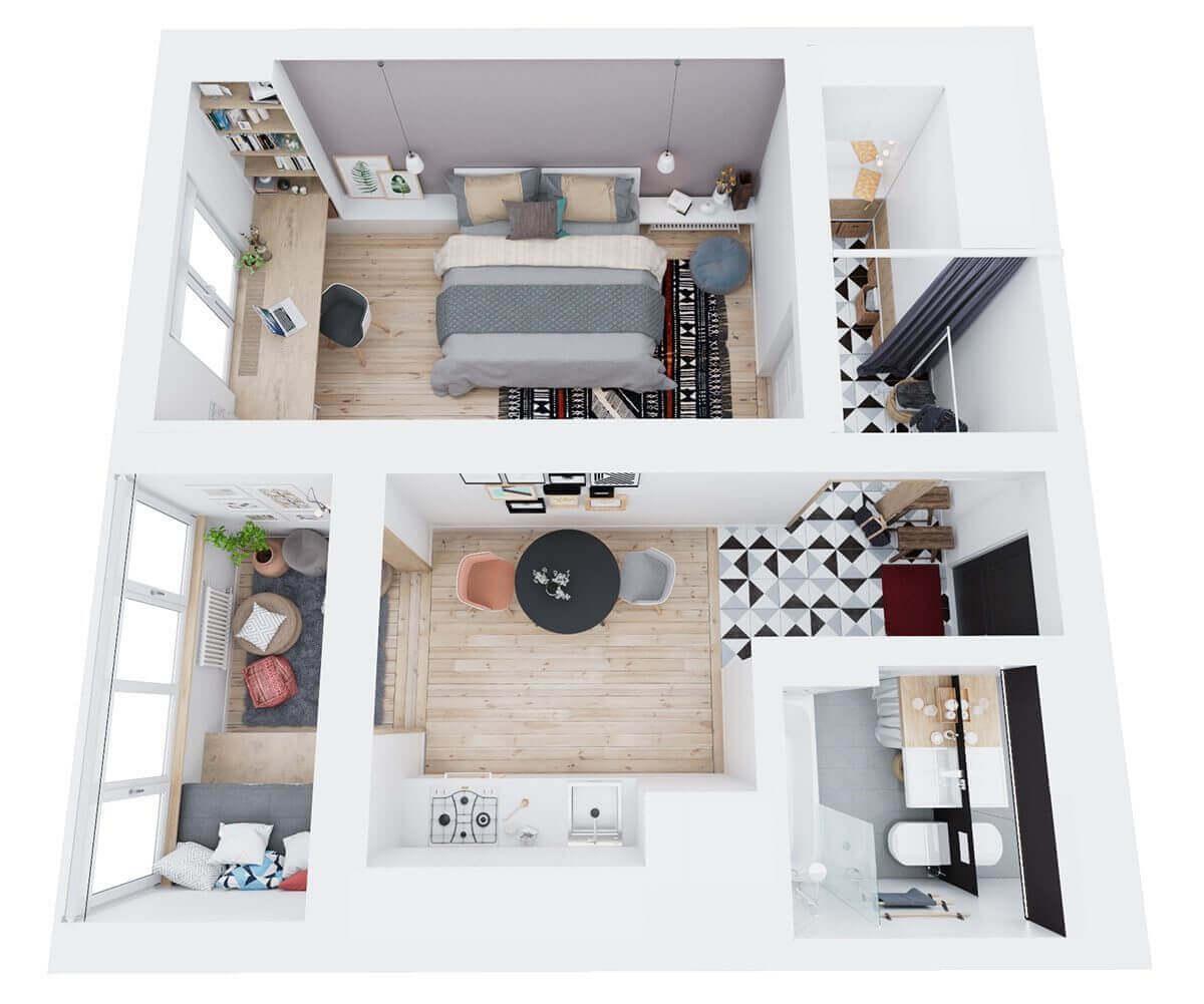 above floorplan apartment three - Mẫu căn hộ dưới 50m2 với không gian rộng rãi và cá tính