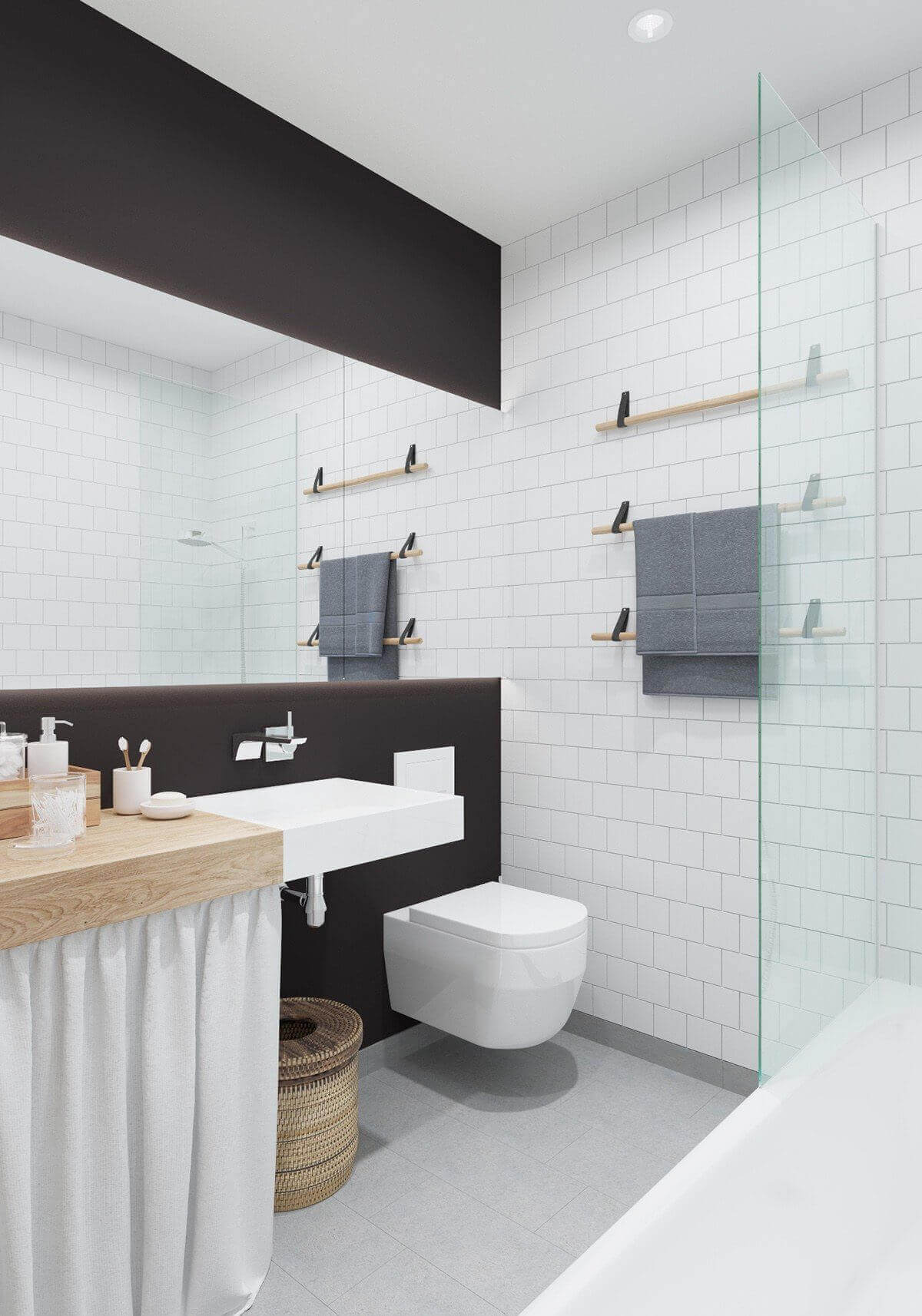 bathroom white subway tile black paint - Mẫu căn hộ dưới 50m2 với không gian rộng rãi và cá tính