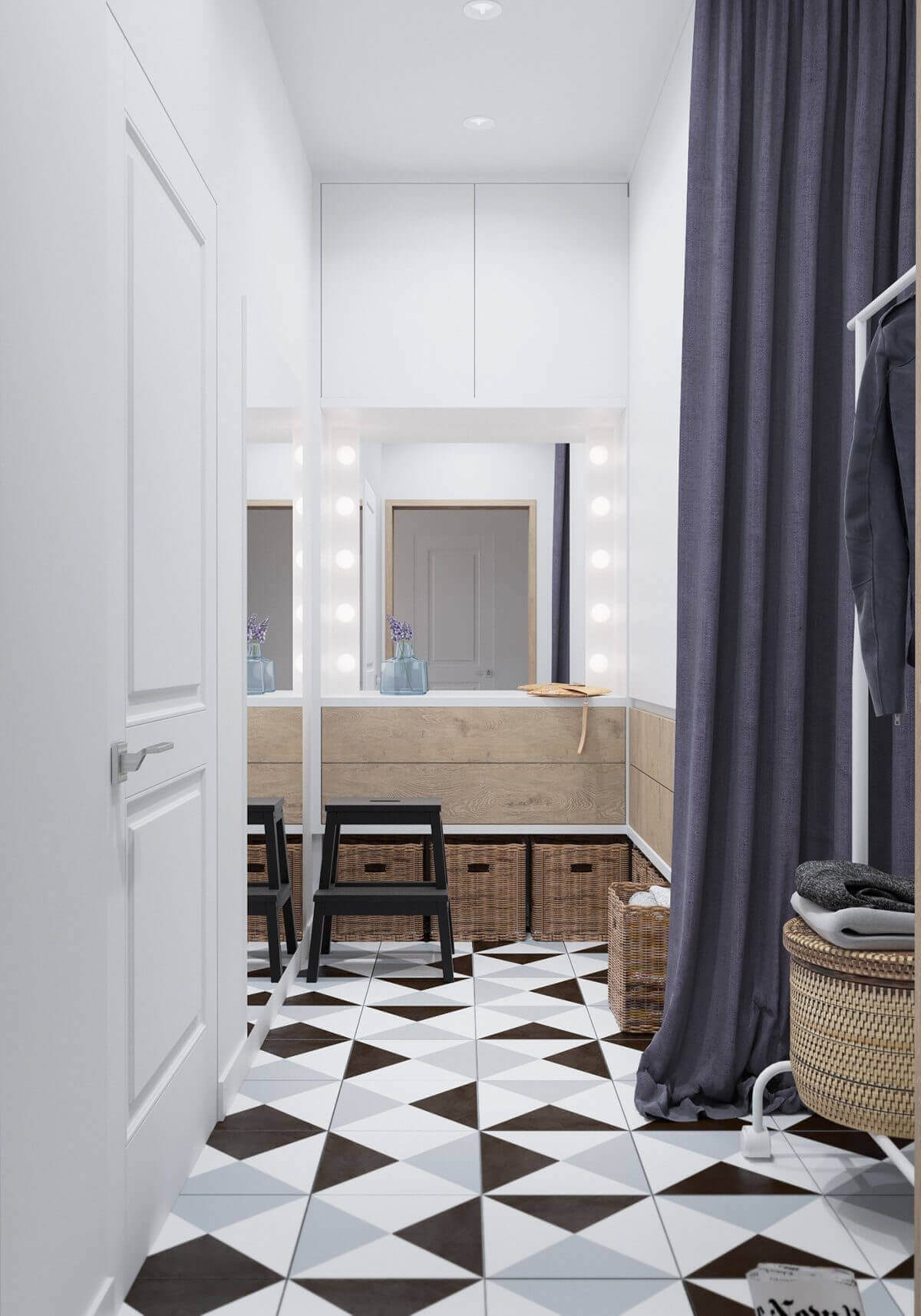 extra space unique tiles geometric laundry - Mẫu căn hộ dưới 50m2 với không gian rộng rãi và cá tính