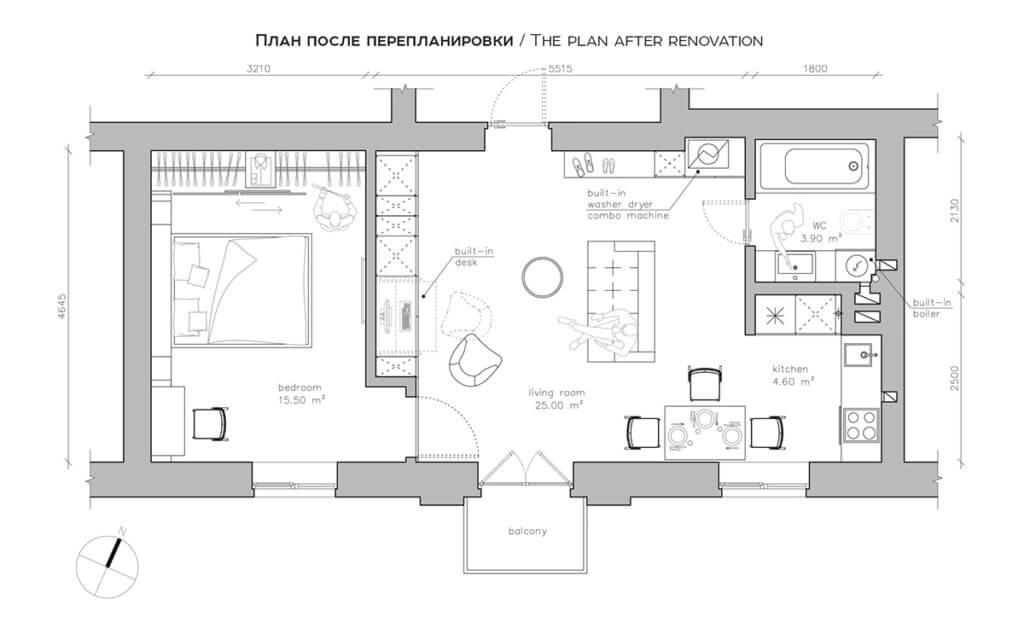 floorplan first house after renovation yellow 1024x640 - Mẫu căn hộ dưới 50m2 với không gian rộng rãi và cá tính