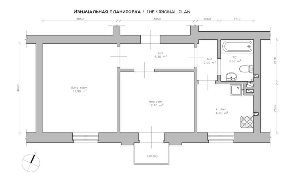 floorplan first house yellow 1024x640 - Mẫu căn hộ dưới 50m2 với không gian rộng rãi và cá tính
