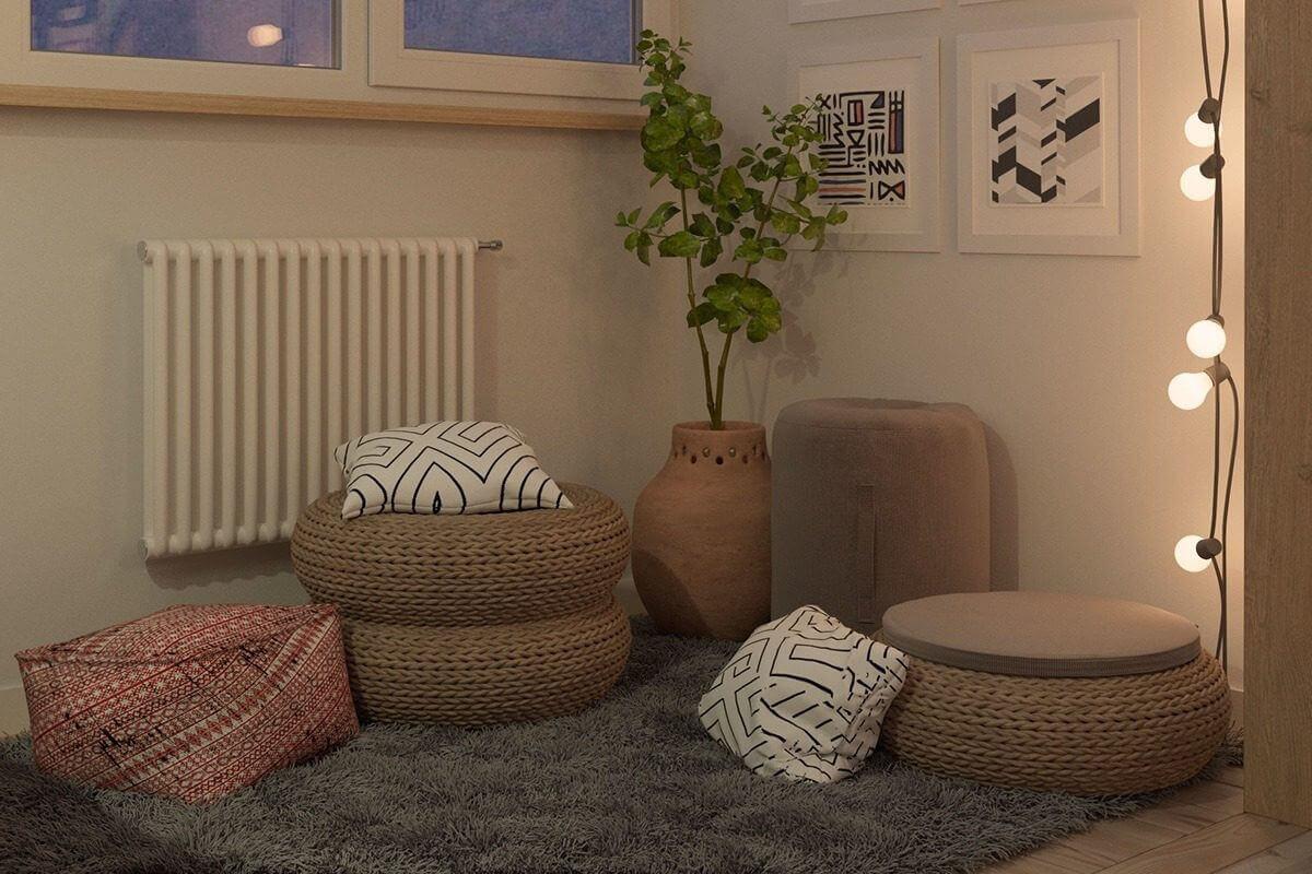 heater tan white frames - Mẫu căn hộ dưới 50m2 với không gian rộng rãi và cá tính
