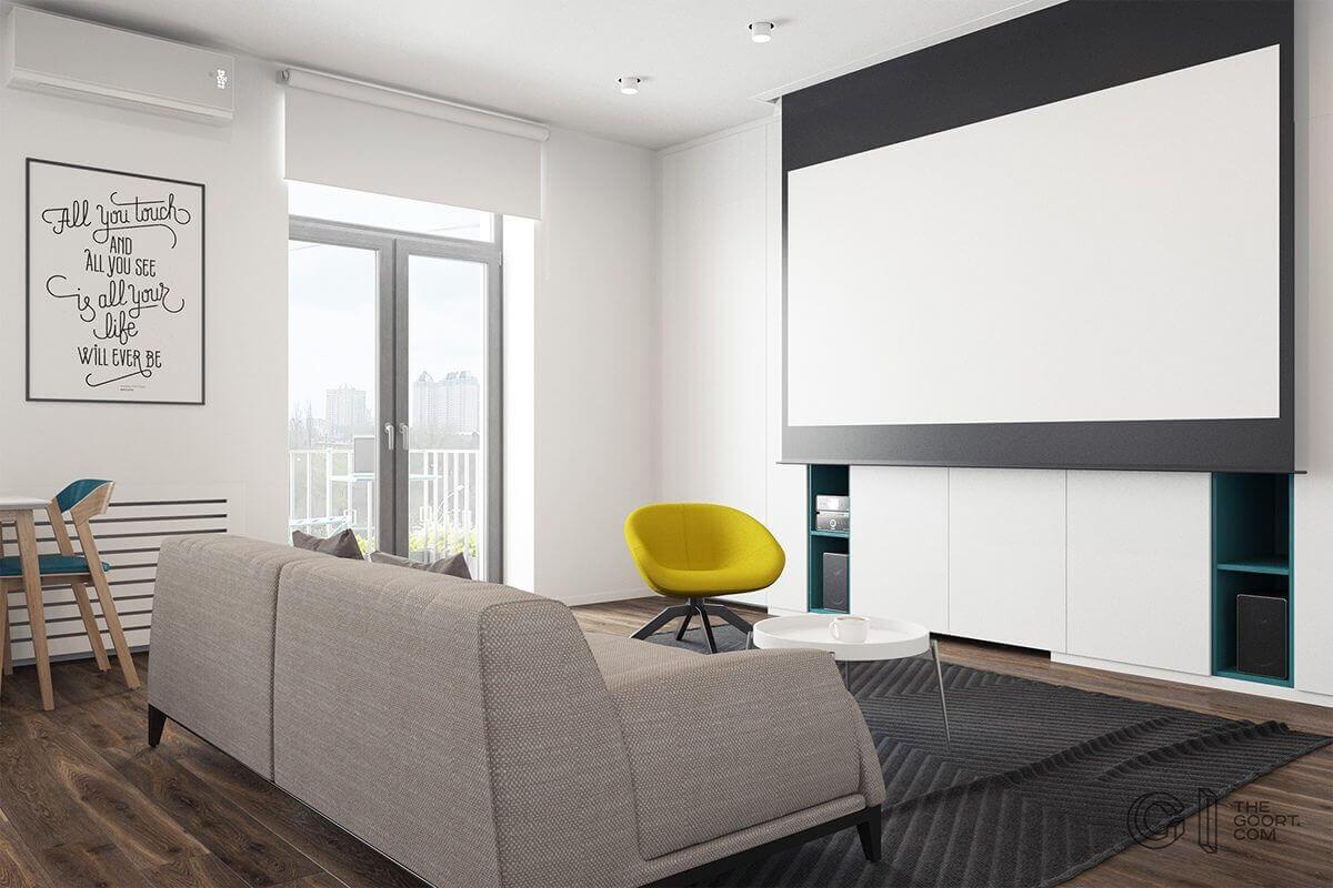 living room screen projector tv yellow chair - Mẫu căn hộ dưới 50m2 với không gian rộng rãi và cá tính