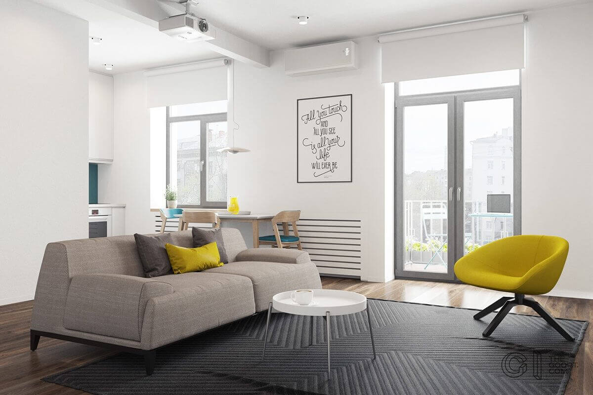 living room yellow chair yellow pillow - Mẫu căn hộ dưới 50m2 với không gian rộng rãi và cá tính