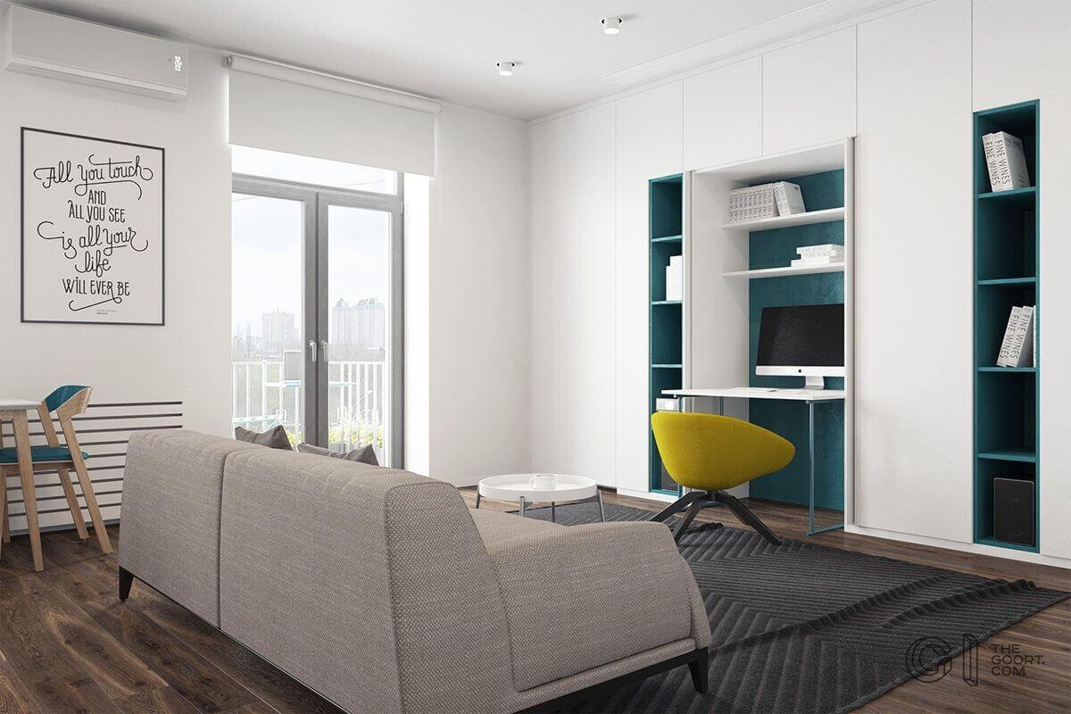 livingroom office space imac teal builtin shelves - Mẫu căn hộ dưới 50m2 với không gian rộng rãi và cá tính