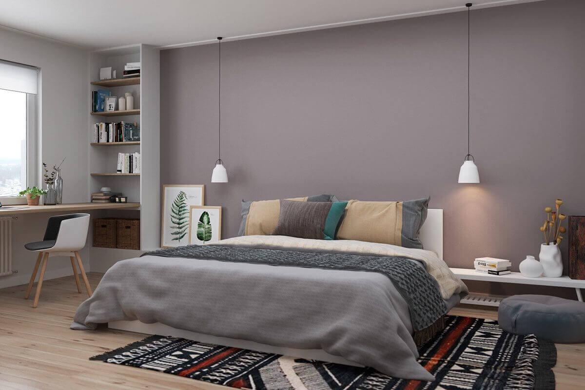 lower to floor bed green art purple wall - Mẫu căn hộ dưới 50m2 với không gian rộng rãi và cá tính