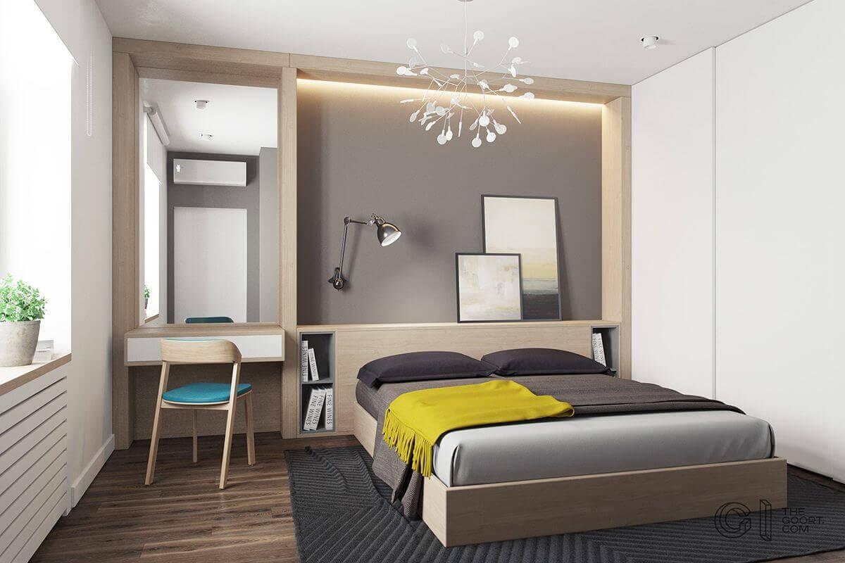 master bedroom yellow throw gray bedding  - Mẫu căn hộ dưới 50m2 với không gian rộng rãi và cá tính
