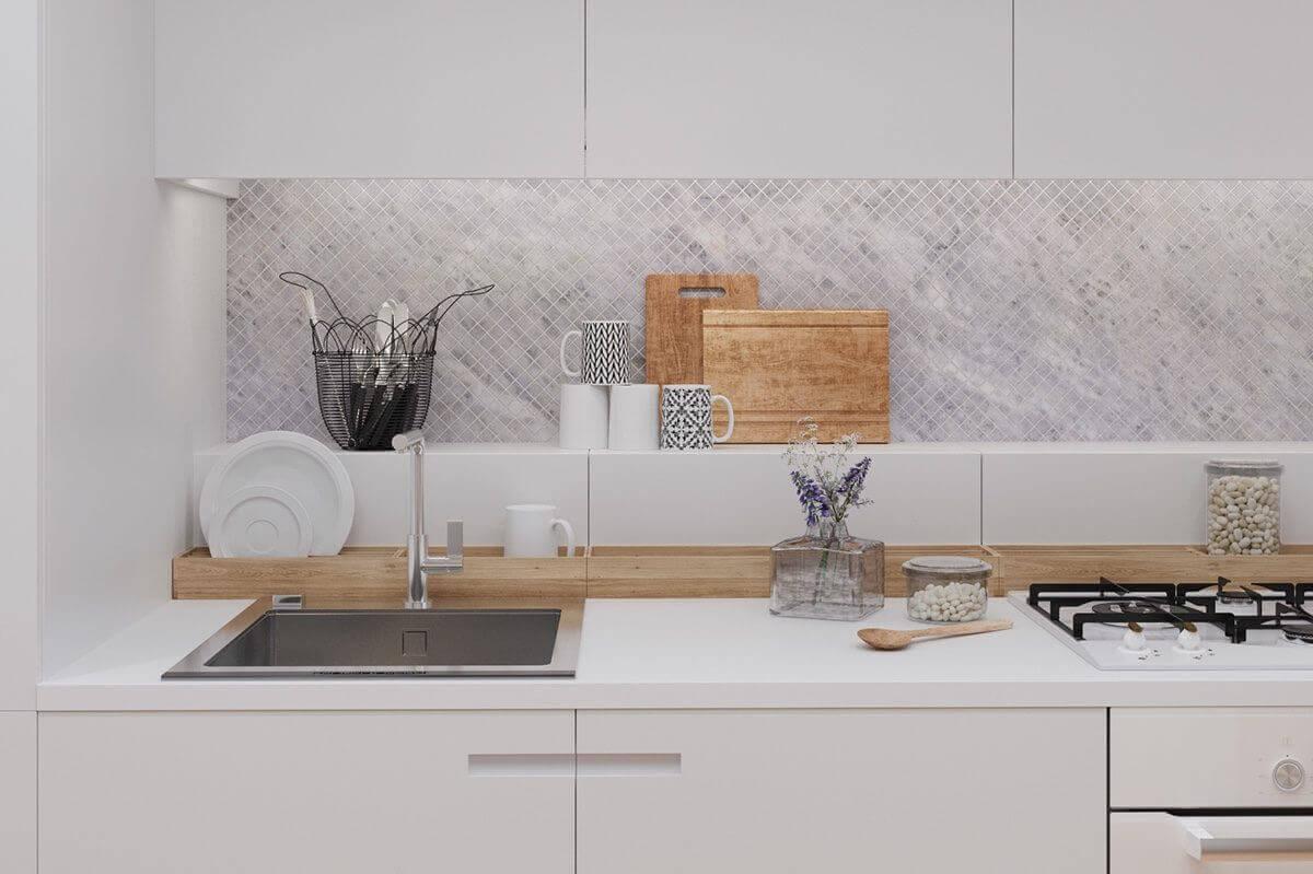 sink kitchen tiny bamboo holder cutting boards - Mẫu căn hộ dưới 50m2 với không gian rộng rãi và cá tính