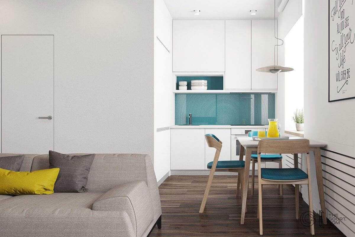 tiny ktichen teal backsplash white cabinets yellow accent - Mẫu căn hộ dưới 50m2 với không gian rộng rãi và cá tính