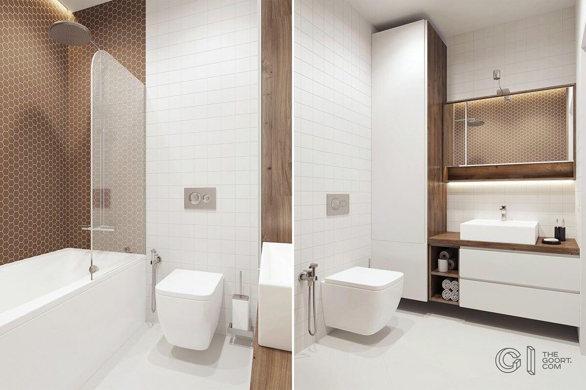 white brown bathroom soak tub white tile - Mẫu căn hộ dưới 50m2 với không gian rộng rãi và cá tính