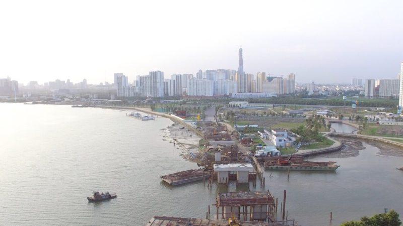 tiến độ xây dựng cầu qua đảo kim cương 26-01