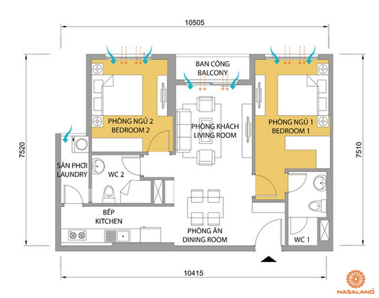 Mặt bằng chi tiết căn hộ 2 phòng ngủ của dự án Masteri quận 2