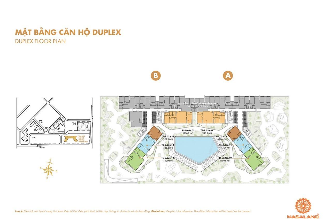 Mặt bằng căn hộ DUPLEX của dự án Masteri Thảo Điền quận 2