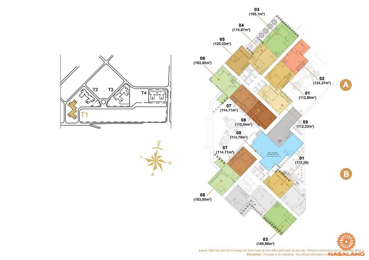 Mặt bằng căn hộ 3 phòng ngủ dự án Masteri Thảo Điền quận 2