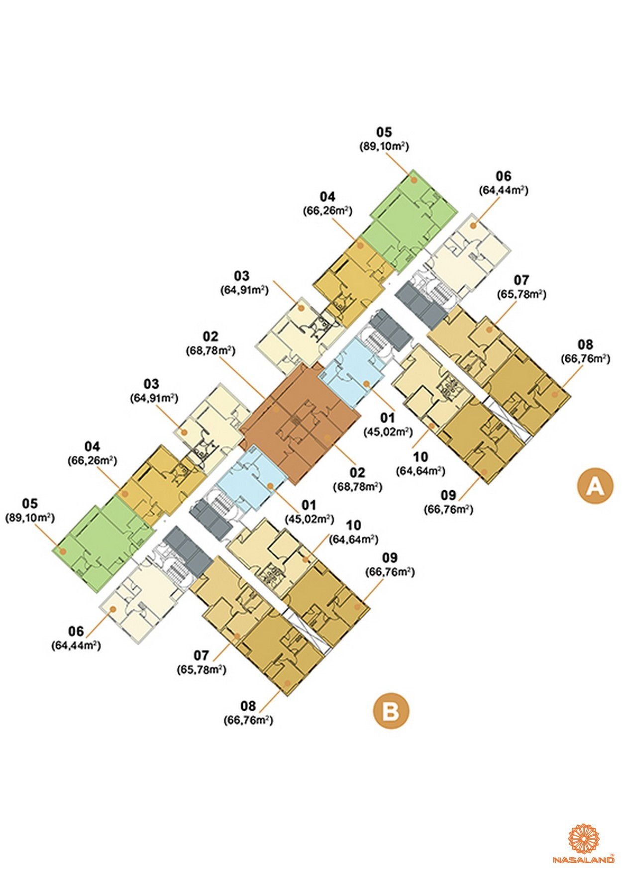 Mặt bằng căn hộ 2 phòng ngủ dự án Masteri Thảo Điền quận 2
