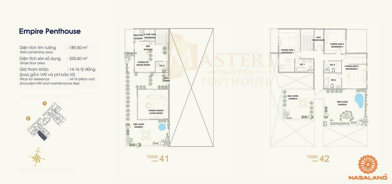 Mặt bằng căn hộ Penthouse của dự án Masteri Thảo Điền quận 2