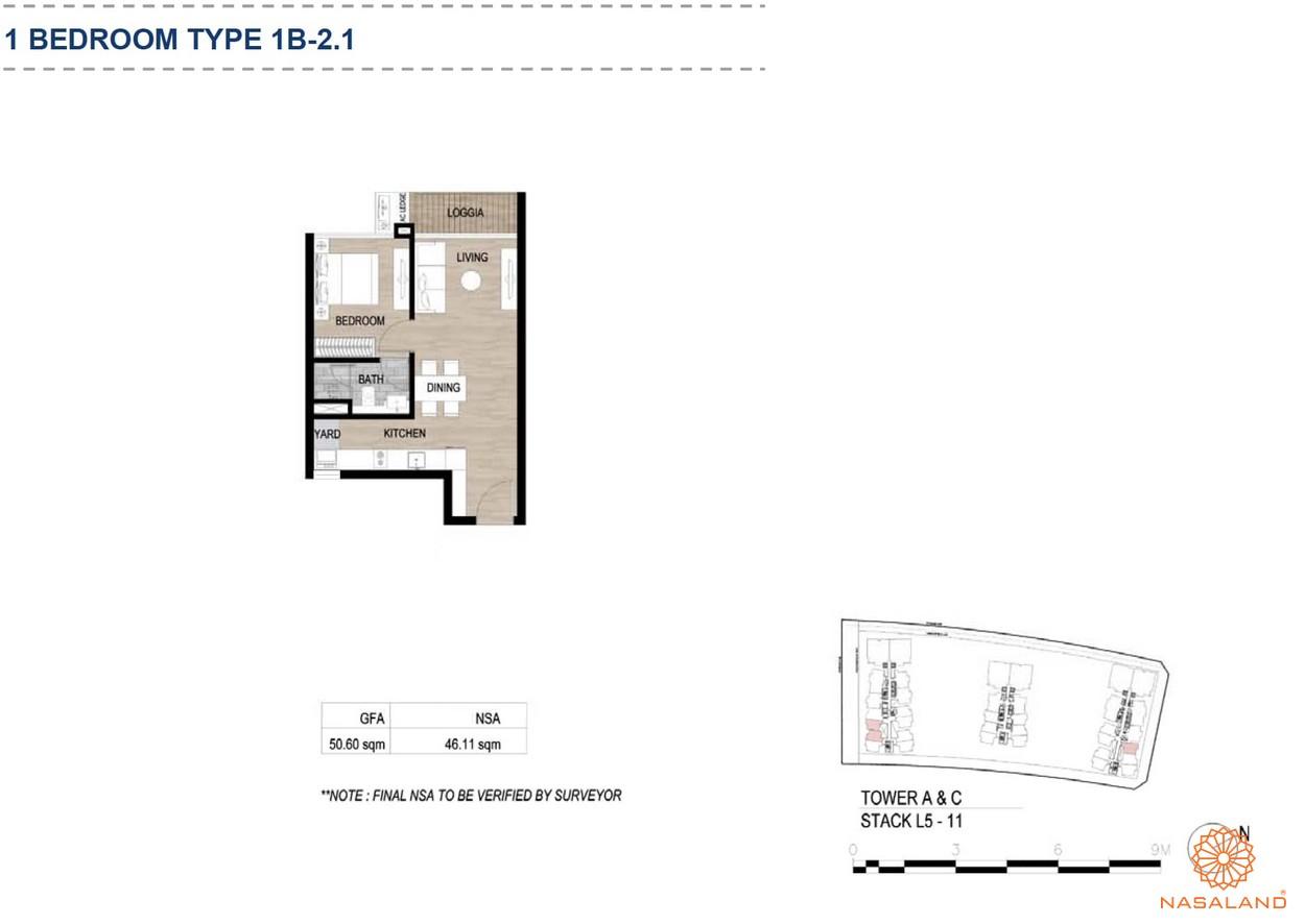 Mặt bằng căn hộ chung cư The Metropole Thủ Thiêm - 1 phòng ngủ loại 1.2
