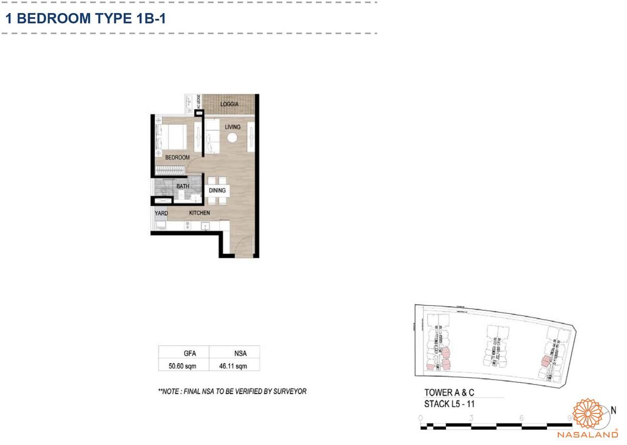 Mặt bằng căn hộ chung cư The Metropole Thủ Thiêm - 1 phòng ngủ loại 1