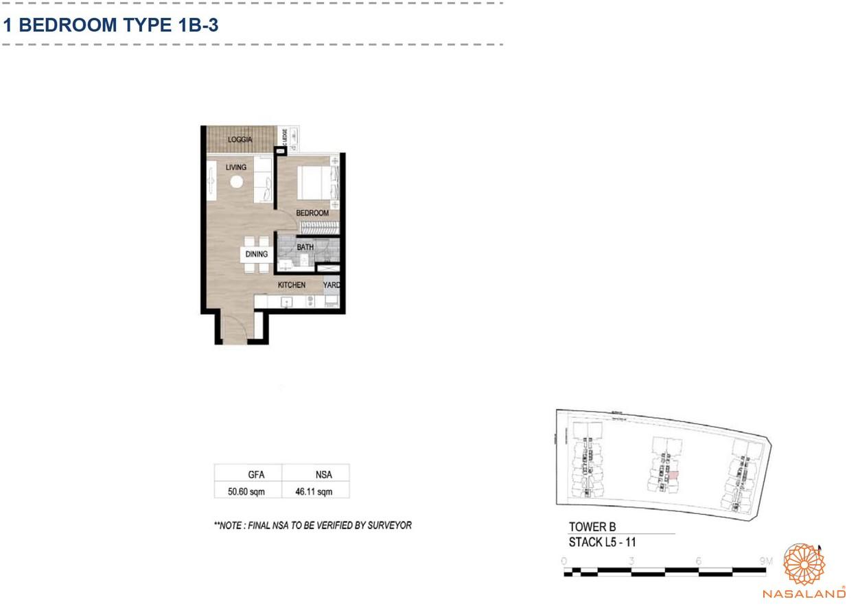 Mặt bằng căn hộ chung cư The Metropole Thủ Thiêm - 1 phòng ngủ loại 3