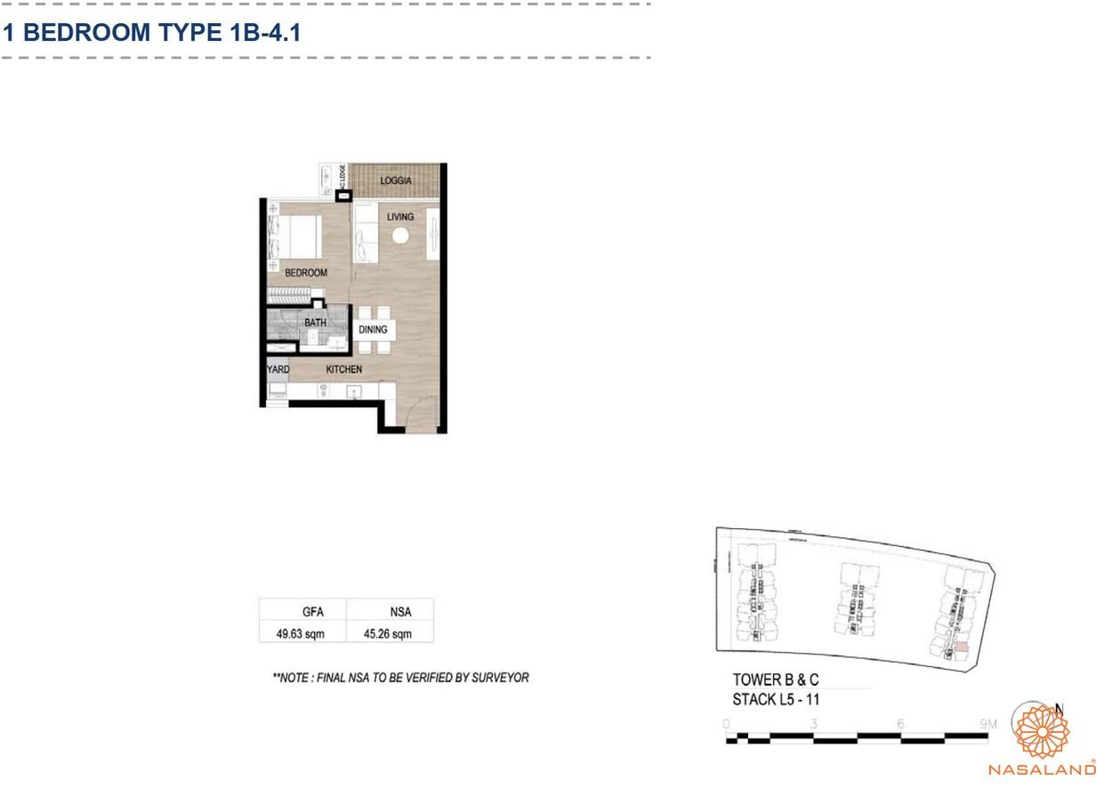 Mặt bằng căn hộ chung cư The Metropole Thủ Thiêm - 1 phòng ngủ loại 4.1
