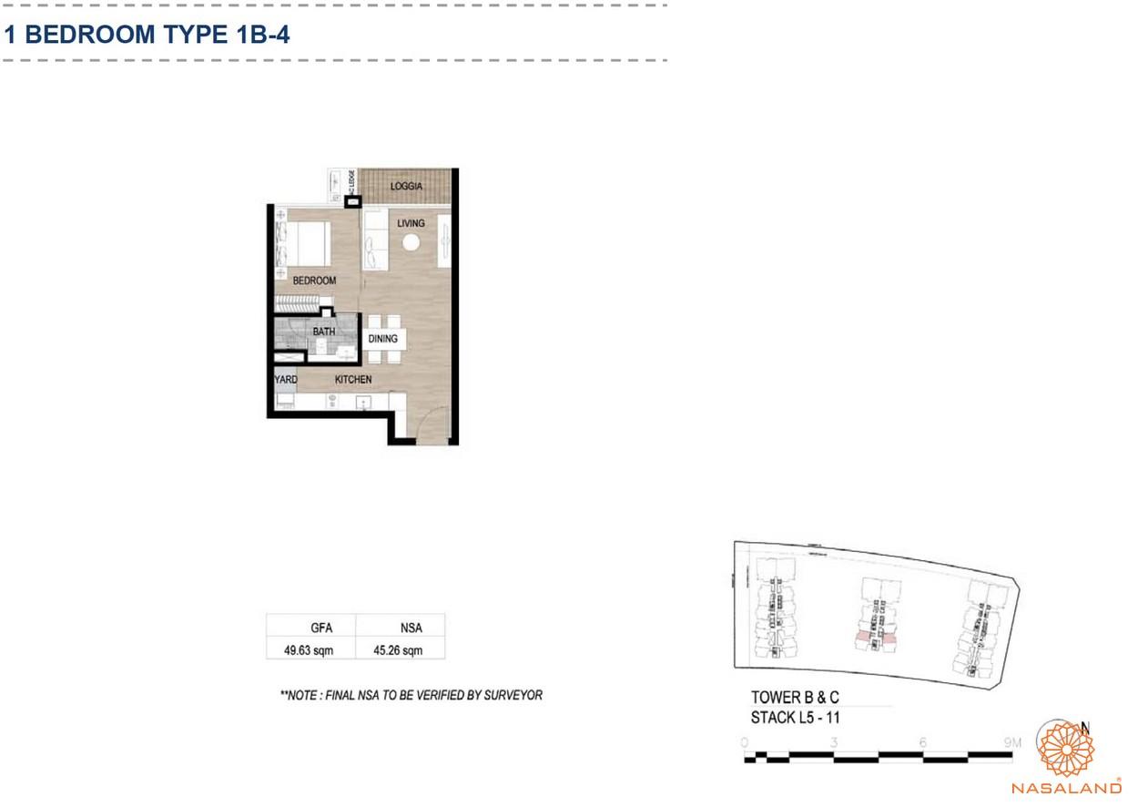 Mặt bằng căn hộ chung cư The Metropole Thủ Thiêm - 1 phòng ngủ loại 4