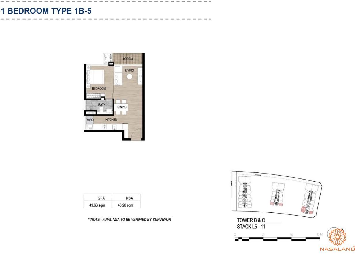 Mặt bằng căn hộ chung cư The Metropole Thủ Thiêm - 1 phòng ngủ loại 5