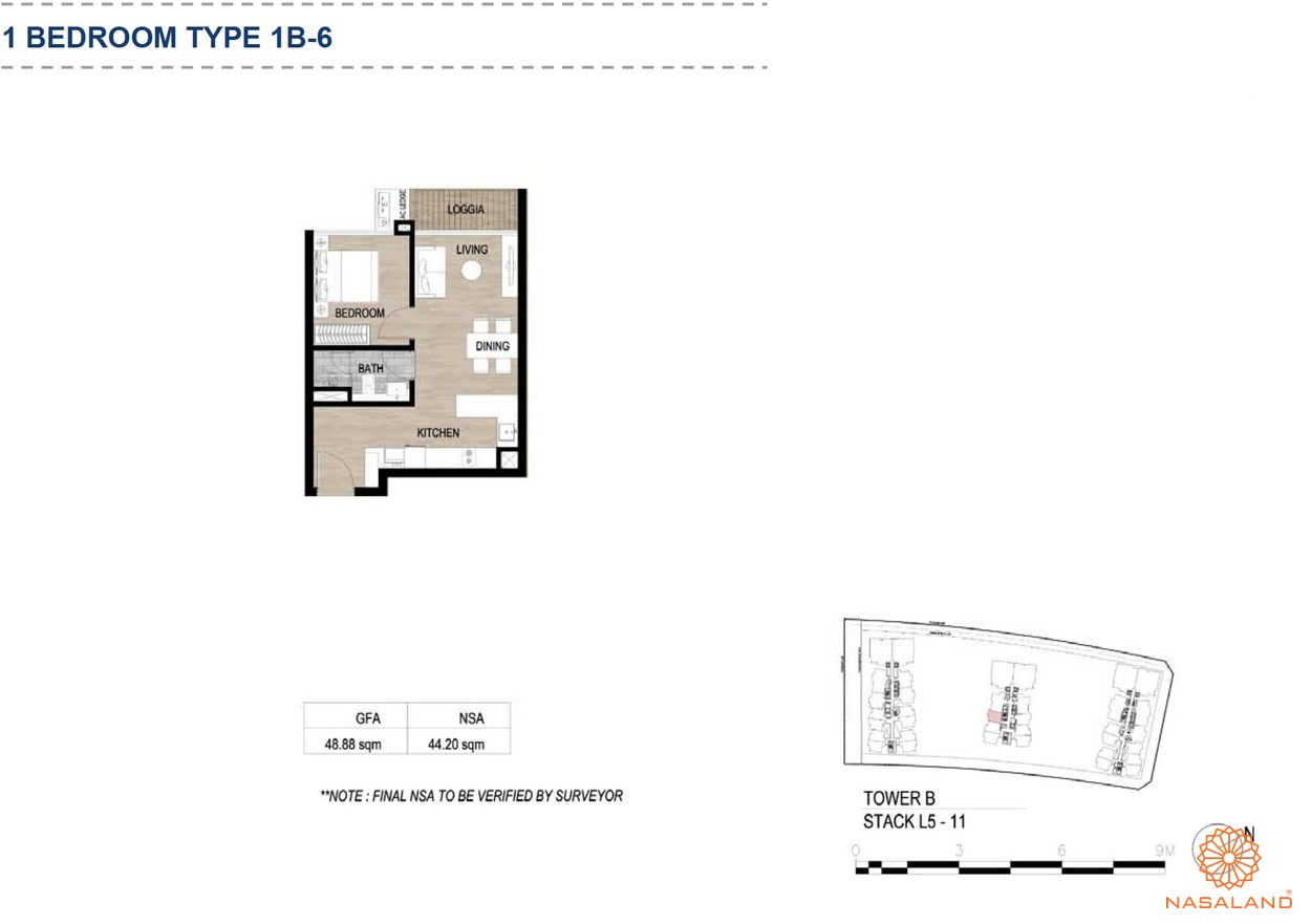 Mặt bằng căn hộ chung cư The Metropole Thủ Thiêm - 1 phòng ngủ loại 6