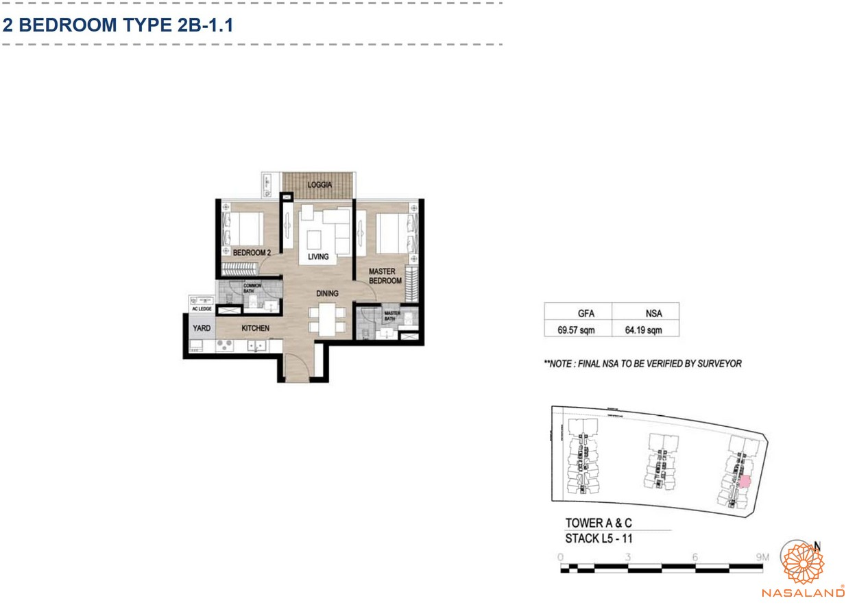 Mặt bằng căn hộ chung cư The Metropole Thủ Thiêm - 2 phòng ngủ loại 1.1
