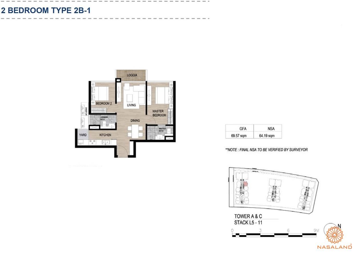 Mặt bằng căn hộ chung cư The Metropole Thủ Thiêm - 2 phòng ngủ loại 1