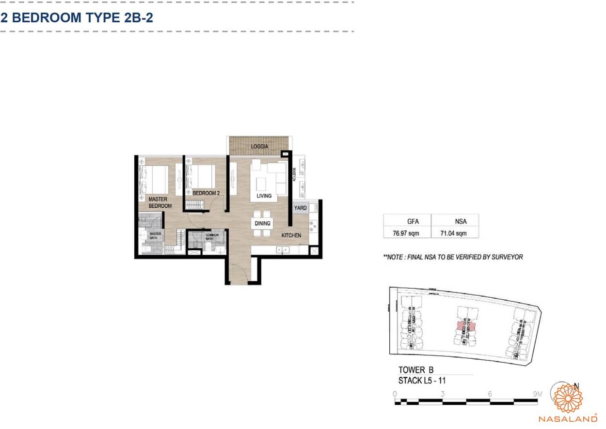 Mặt bằng căn hộ chung cư The Metropole Thủ Thiêm - 2 phòng ngủ loại 2
