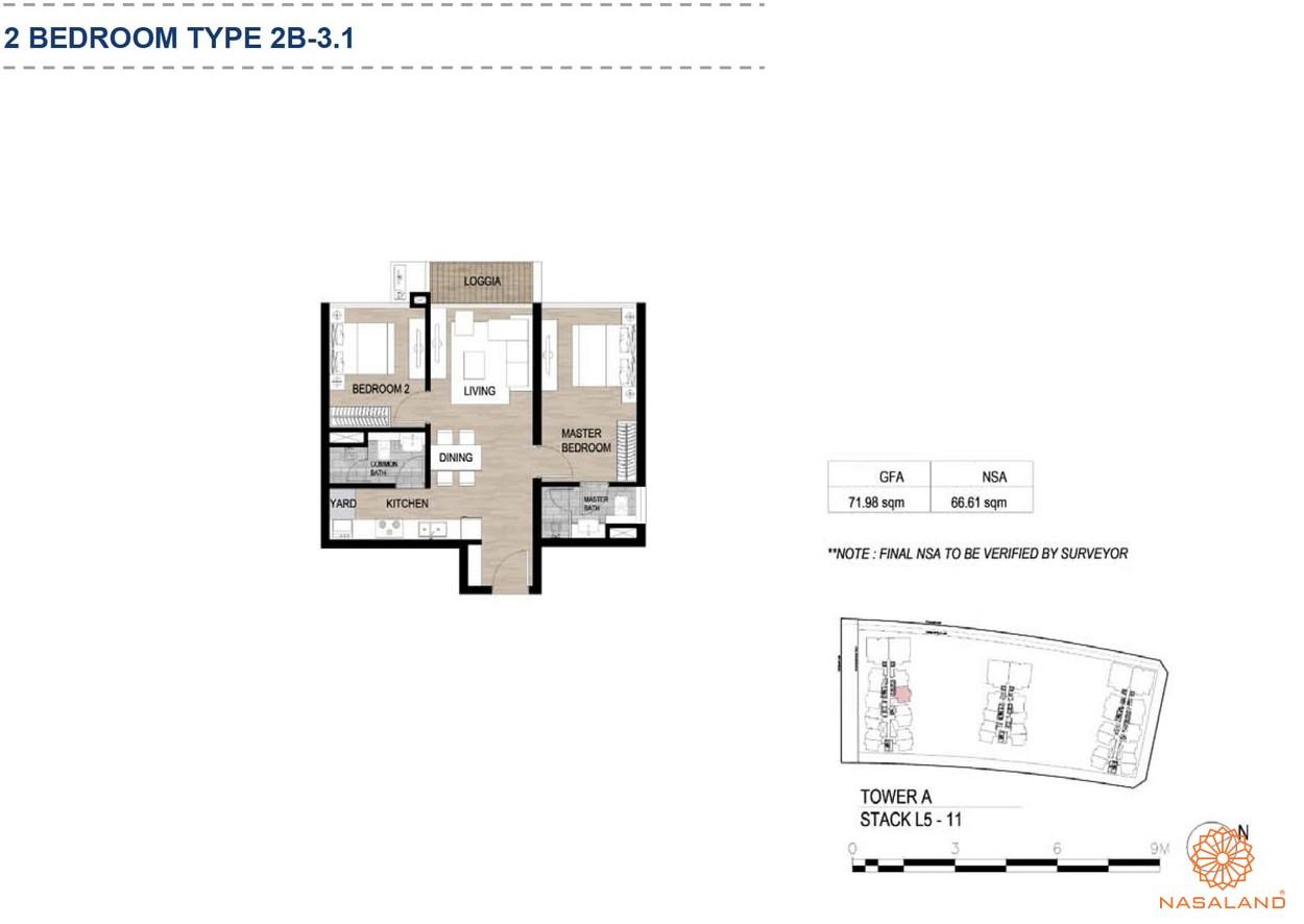 Mặt bằng căn hộ chung cư The Metropole Thủ Thiêm - 2 phòng ngủ loại 3.1