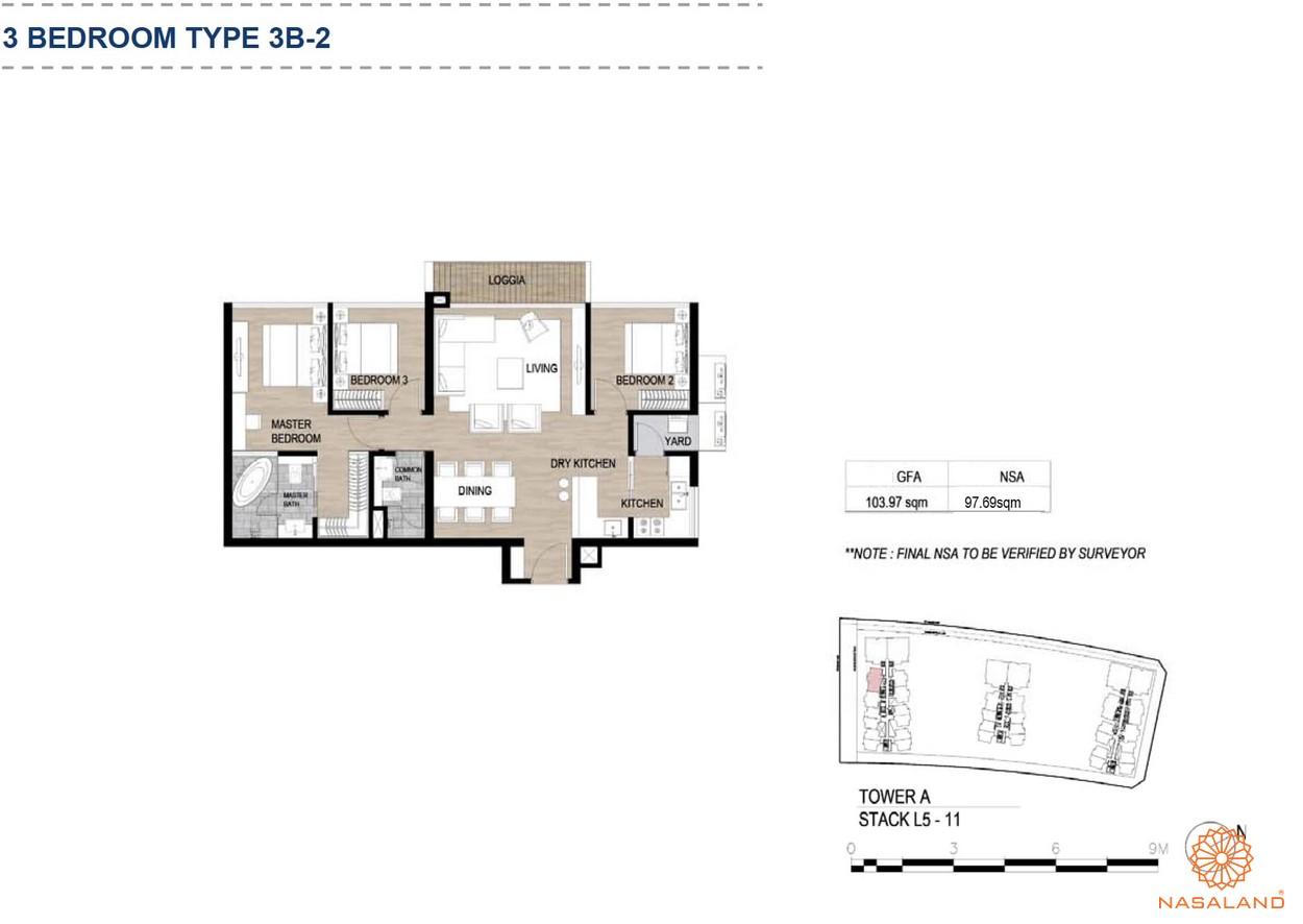 Mặt bằng căn hộ chung cư The Metropole Thủ Thiêm - 3 phòng ngủ loại 2