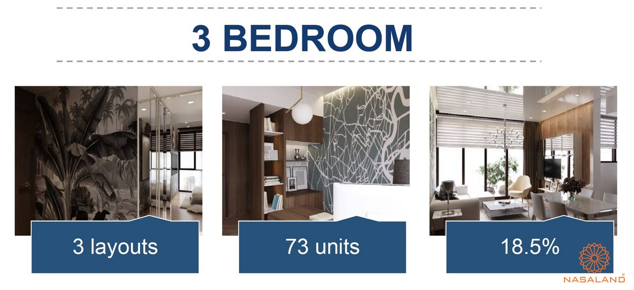 Mặt bằng căn hộ chung cư The Metropole Thủ Thiêm - 3 phòng ngủ