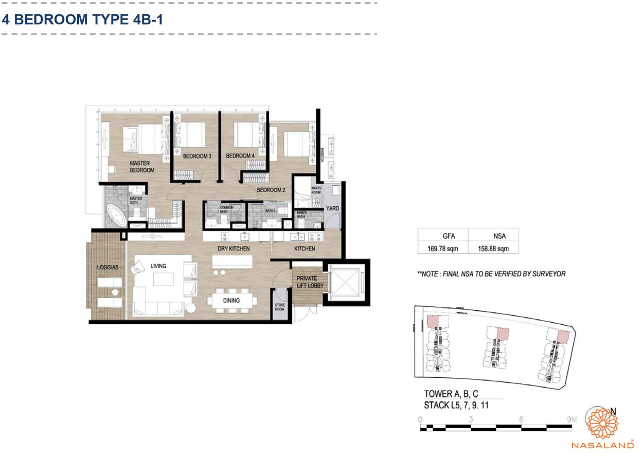 Mặt bằng căn hộ chung cư The Metropole Thủ Thiêm - 4 phòng ngủ loại 1