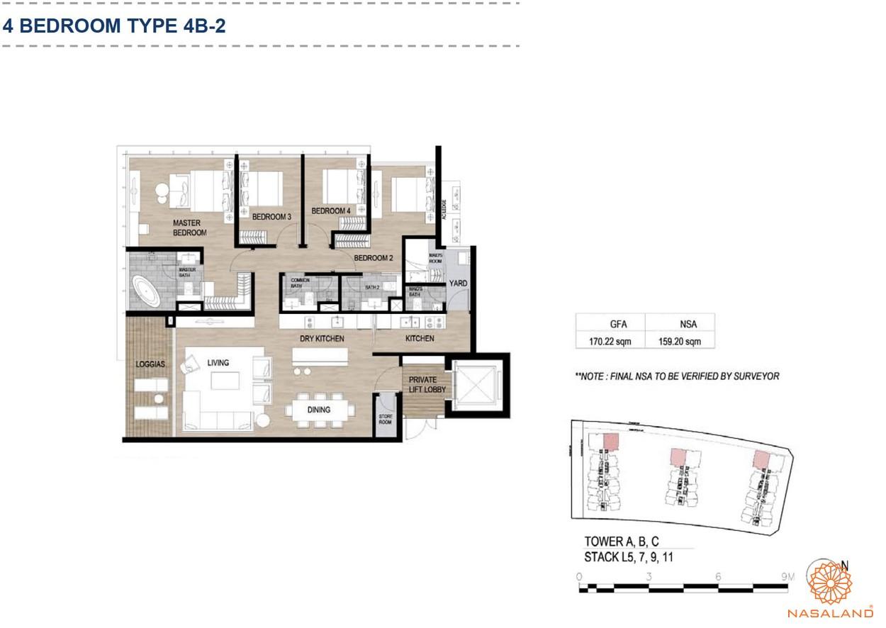Mặt bằng căn hộ chung cư The Metropole Thủ Thiêm - 4 phòng ngủ loại 2