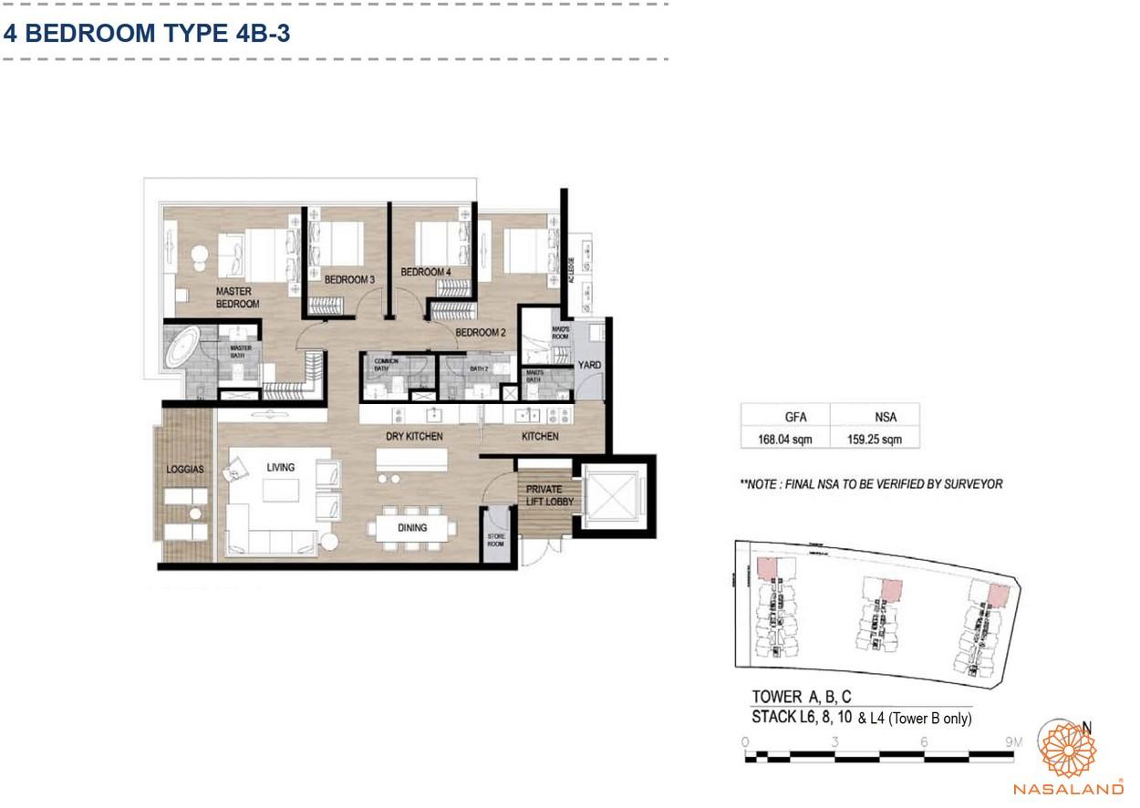 Mặt bằng căn hộ chung cư The Metropole Thủ Thiêm - 4 phòng ngủ loại 3
