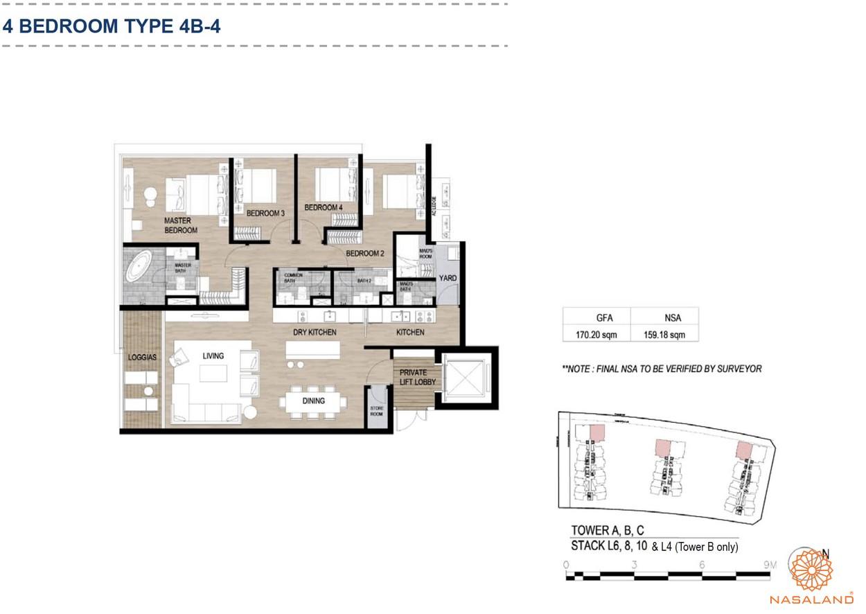Mặt bằng căn hộ chung cư The Metropole Thủ Thiêm - 4 phòng ngủ loại 4
