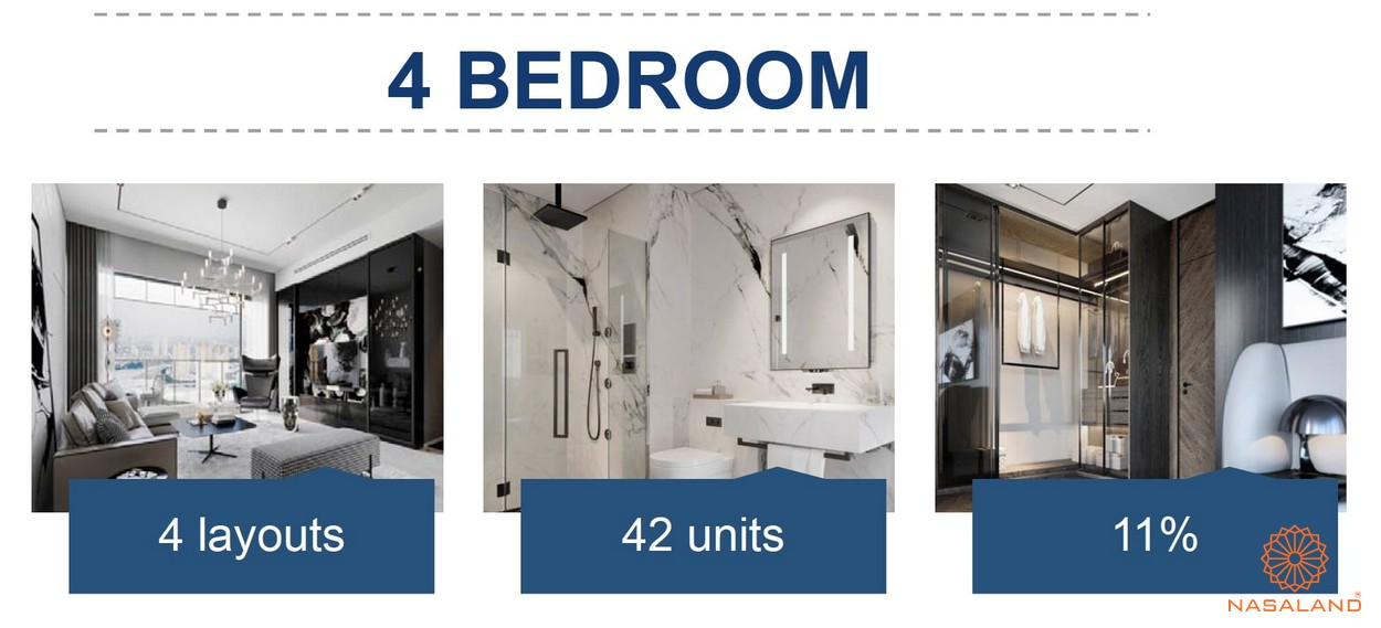 Mặt bằng căn hộ chung cư The Metropole Thủ Thiêm - 4 phòng ngủ