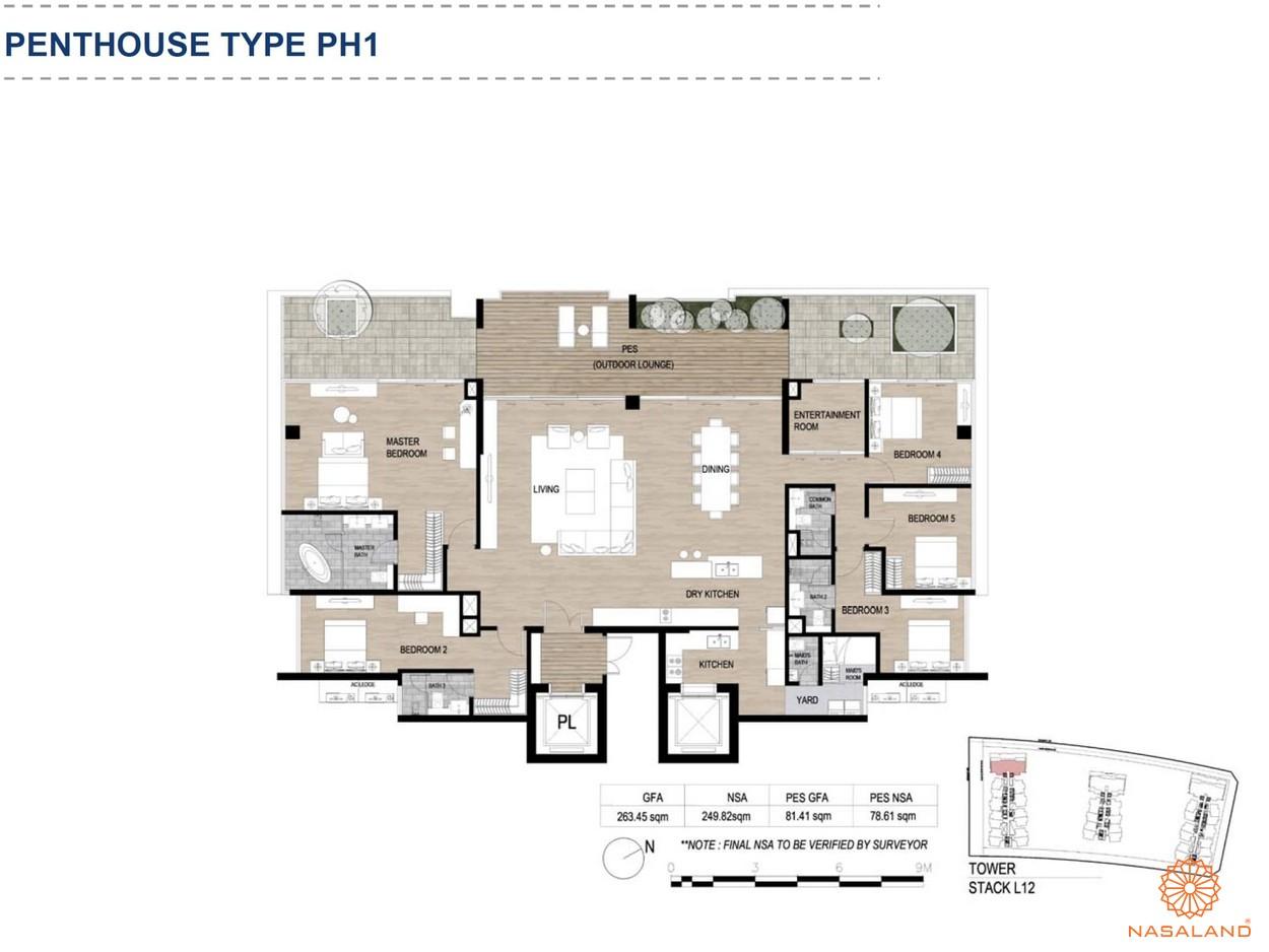 Mặt bằng căn hộ chung cư The Metropole Thủ Thiêm - Penthouse loại 1