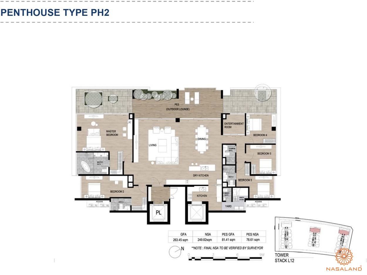 Mặt bằng căn hộ chung cư The Metropole Thủ Thiêm - Penthouse loại 2