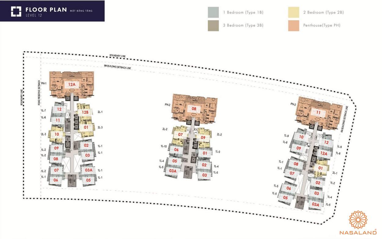Mặt bằng tổng thể dự án The Metropole Thủ Thiêm - tầng 12