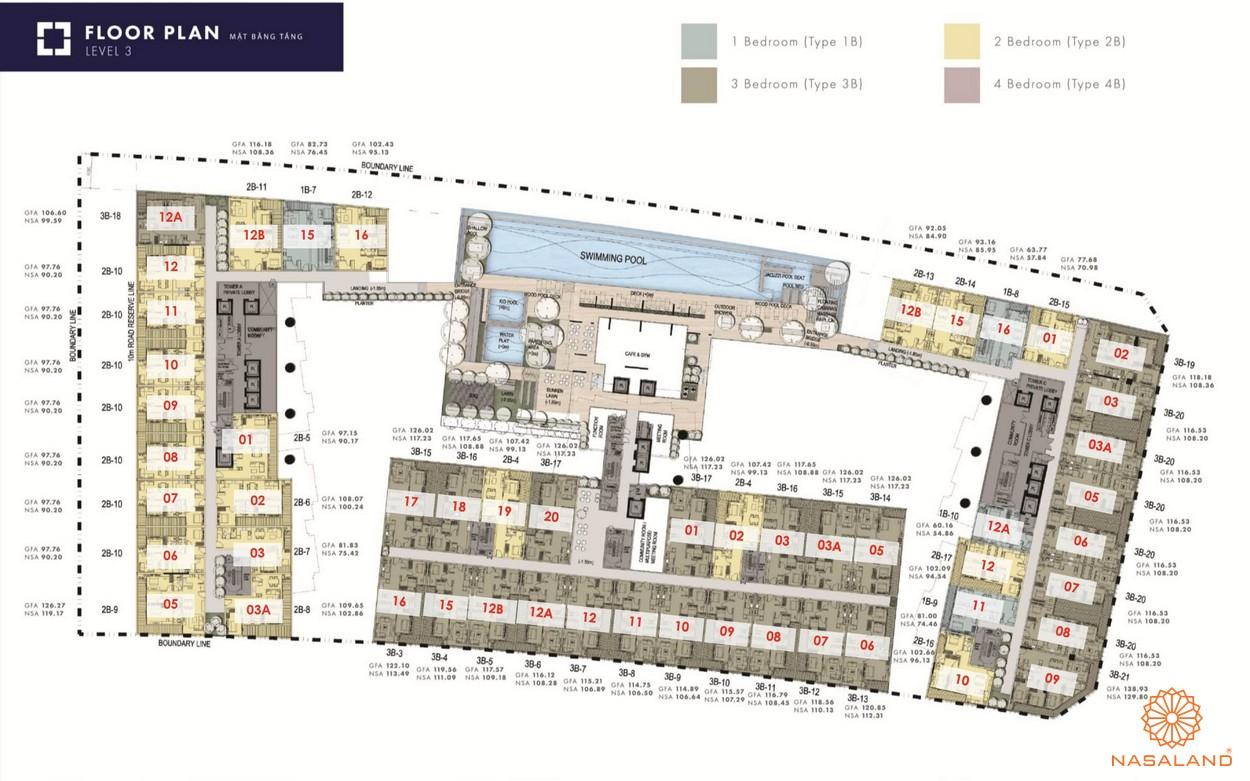 Mặt bằng tổng thể dự án The Metropole Thủ Thiêm - tầng 3